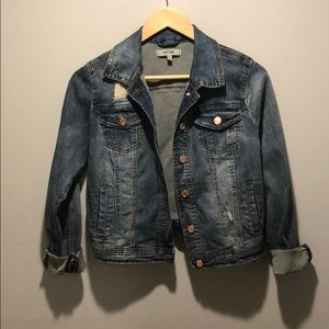 Jackets & Blazers - Destroyed Medium Wash Cropped Jean Jacket